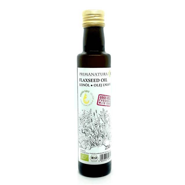 BIO olej lniany Budwigowy Primanatura, 250ml - zimnotłoczony, beztlenowy, do diety dr Budwig